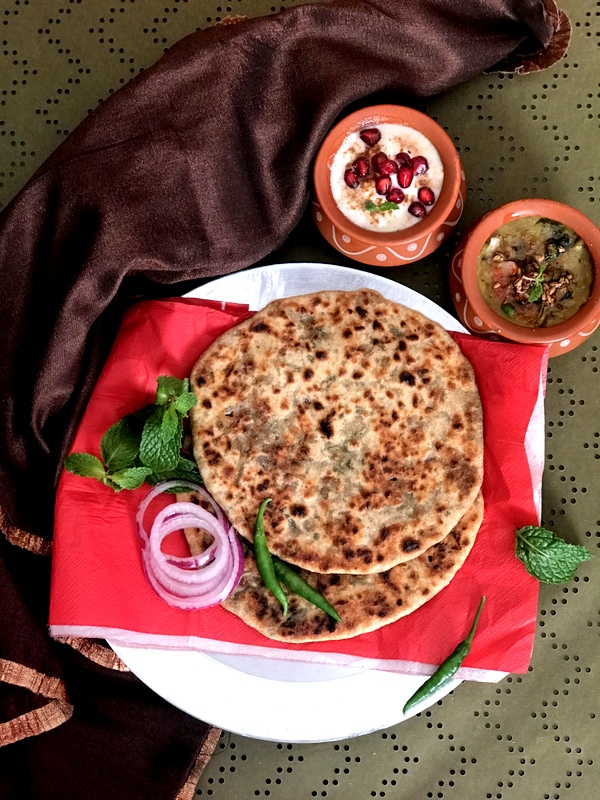 O - Onion & Mint Parathas