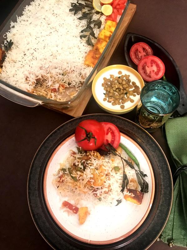 Banarasi Tandoori Biryani - biryani with roasted veggies