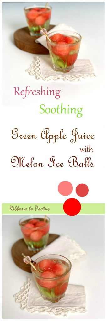 Green Apple Juice with Melon Ice Balls