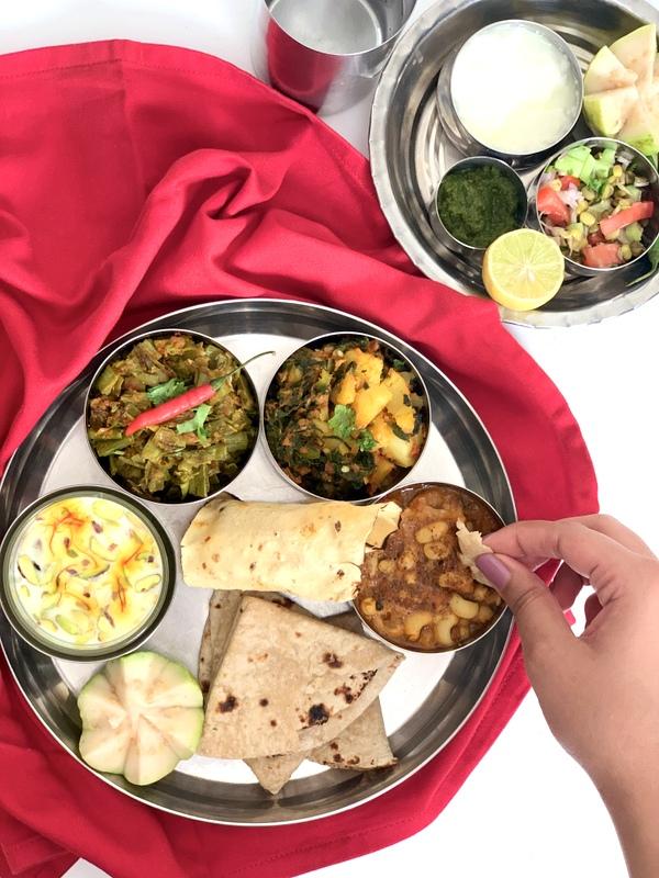 Sindhi Lunch Thali with Guar ji Bhaji